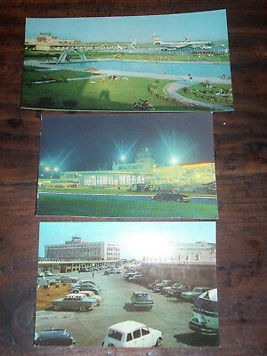 Vintage Rare Postcards Argentina Buenos Aires Airports Airplane Cars Lot Of 3
