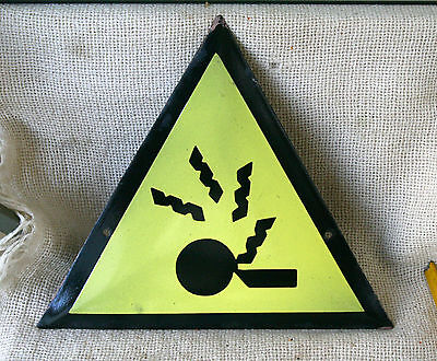 VINTAGE 1960`s  ENAMEL PORCELAIN TIN SIGN PLATE - WARNING  DANGER #7 - Auc
