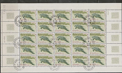 Ivory Coast - M.Sheet of 25 Stamps with Imprint. Süßwasser Manati - Seekuh gest.
