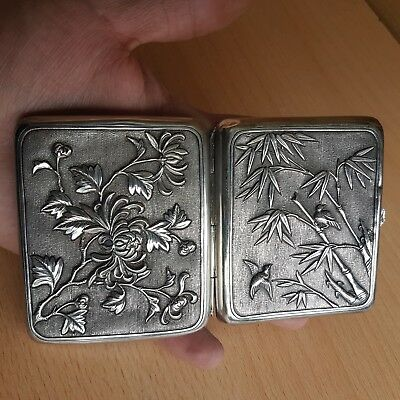 9# Old Rare Antique Chinese Solid Silver Box Cigarette Case, China Mark HPK