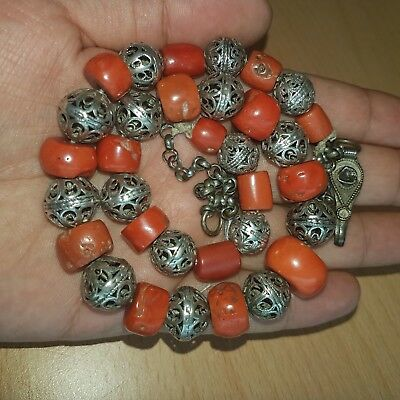 12# Old Rare Antique Silver Necklace w. Natural Undyed Chinese Coral Beads 65 Gr
