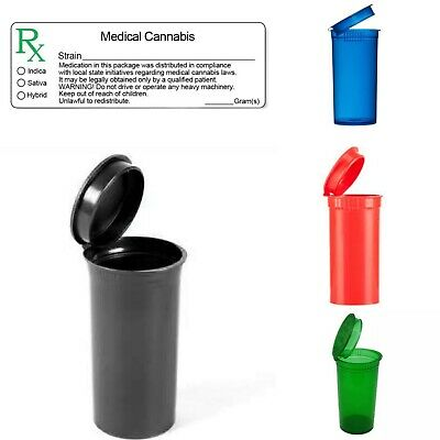 13 dram 25 plastic Squeeze pop top pot vial jar medical container 25RX labels