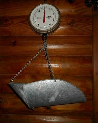 Nice ~ VINTAGE CHATILLON HANGING PRODUCE SCALE TYPE 027 20 Lbs x 1oz. w Basket