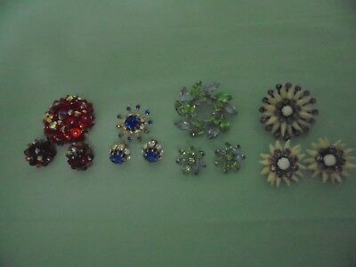 Lot Of Four Sets Of Vintage Assorted Costume Matching Brooch And Earring Sets
