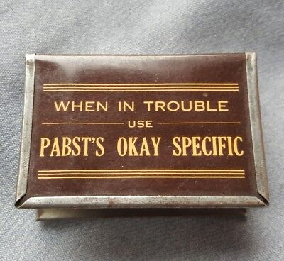1929 Celluloid Advertising Match Box Holder Pabst Okay Specific Patent Medicine