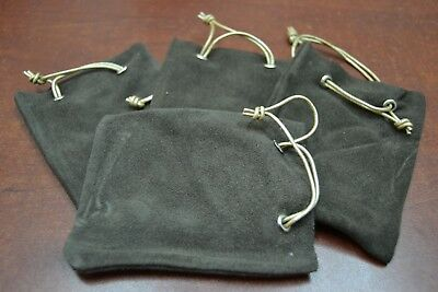 "4 PCS BROWN HANDMADE DRAWSTRING LEATHER JEWELRY GIFT POUCHES BAGS 3"" x 4"""