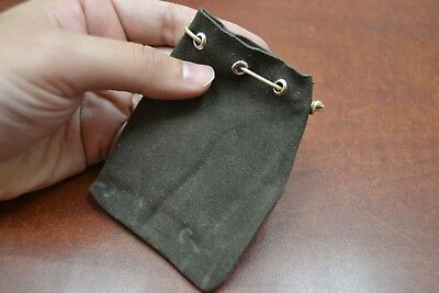 "BROWN HANDMADE DRAWSTRING LEATHER JEWELRY GIFT POUCHES BAGS 3"" x 4"""