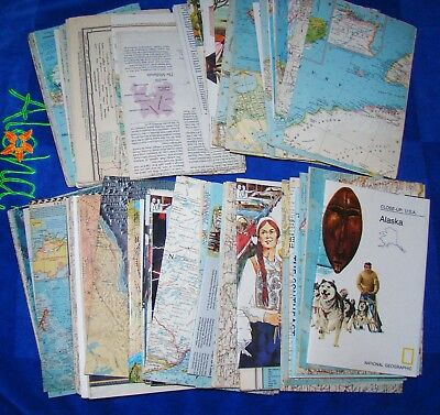 Lot of 80+ Vintage National Geographic Maps & Inserts  - Mostly 1970's