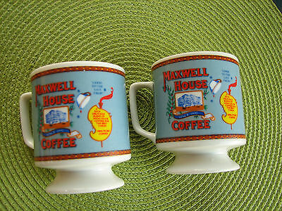 Maxwell House Coffee Cups Small Pedestal Mugs set of 2 Good to the Last Drop