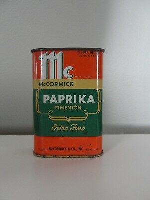 Vintage McCormick Spice Tin Can Paprika, Dated 1946, Baltimore MD