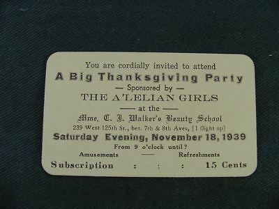 1939 The A'Lelian Girls Thanksgiving Party at C J Walker's Beauty School Card