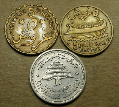 Lebanon 1924 and 1931 5 Piastres and 1952 10 Piastres