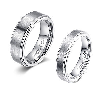 Center Brushed Tungsten Carbide Couple Ring Simple Wedding Band Token Lovers Set