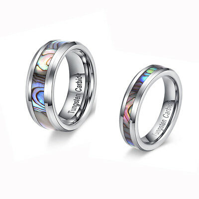 Tungsten Couple Ring Stunning Abalone Stripe Inlaid Token oF Lovers Wedding Band