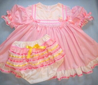 Adult Baby Sissy ABC Pink Gingham Dress Set