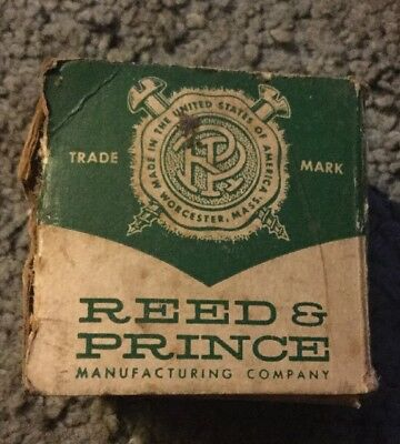 "old vintage Reed & Prince round head nickeled Wood Screws 1/2"" 7 in original Box"