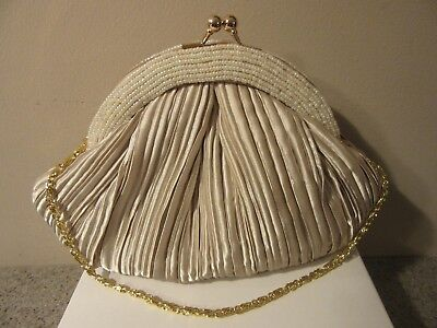 Carlo Fellini Beige Beaded/satin Evening Clutch With Short & Long Gold Chain