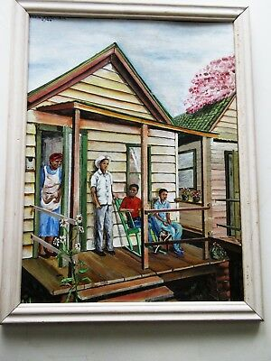 Sheila Whitechurch  Original African American Painting Family Signed  Excellent