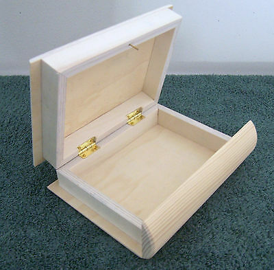 """Unfinished Pine & Linden Wood Box ~ 7"""" BOOK BOX SAFE  with Hinged Lid"""