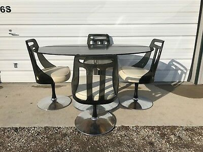 DINING SET TULIP Table Lucite Chair Black Mid Century Modern MCM - Tulip chair and table set