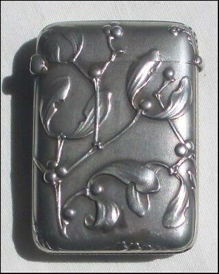 STUNNING SOLID SILVER FRENCH ART NOUVEAU VESTA CASE / MATCH CASE gREA