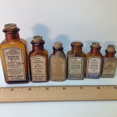 6 Vintage Sharp & Dohme Medicine Bottles Lot, Various Subjects With Labels,nice