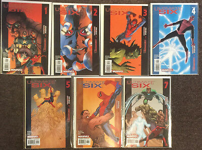Ultimate Six #1 2 3 4 5 6 7 Bendis Marvel Comics Complete Set Spider-Man Thor NM