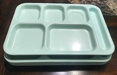 Lot Of 4 Dallas Ware 6 Compartment Cafeteria Lunch TV Food Tray Mint Green  P-71