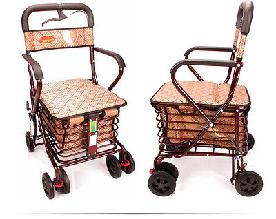Jujube Red 4 Wheels Convenient Foldable Shopping Luggage Trolleys With Seat *