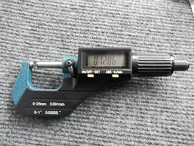 "Digital Electronic Outside Micrometer High Precision 0-1""/0.00005"" X-Large LCD"