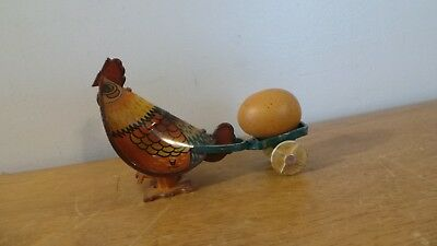 Cute Vintage Tin Litho Wind Up Chicken Pulling Cart With Egg!