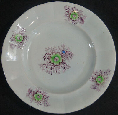 Pair of Small Purple Transferware Plates With Hand Colored Flowers Circa 1840