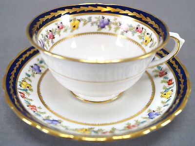 Set of 4 Tuscan Bone China Heather Cobalt & Gilt Hand Colored Tea Cups & Saucers