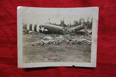Original photograph US Army Air Corps D-Day glider w dead soldiers wrecked crash