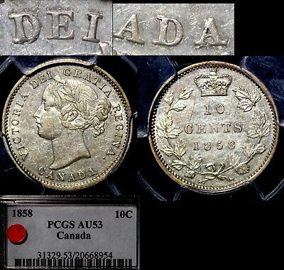 FREE SHIPPING CANADA 10 cents Variety - 1858 - Repunched D DEI - AU53 (m037)