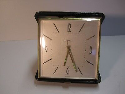 """Antique LARGE TRAVEL CLOCK SWISS MADE, LEATHER 4-1/2"""" x 5-1/2"""" Semca WORKS"""