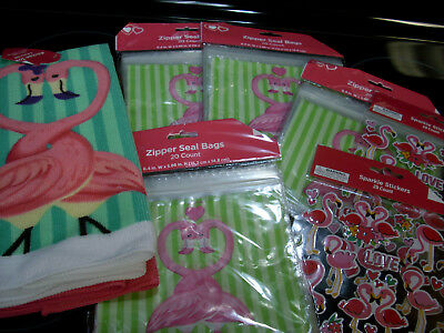 LOT flamingo bird KITCHEN BAGS TOWELS STICKERS nip nos new