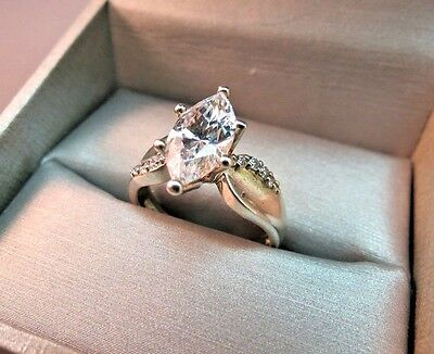 VTG Ring 925 Sterling Silver DQCZ Large Marquise 6g SZ 9 Solitaire Accents NICE
