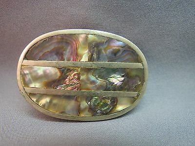 """Vintage 70s Belt Buckle Abalone Stone 2 x 1.5"""" Organic Colors Womens MOP Oval"""