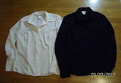 Womens Lot Of Two Dress Button Down Shirts East 5Th Size Large Black Cream Euc