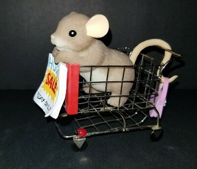 """Charming Tails Figurine Mouse In Shopping Cart """"Huge Sale Today"""" Ad Figure EXCEL"""