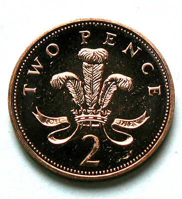 2005 UK (British) Elizabeth II Coin - Two Pence (2p) - AU++ red (from mint set)