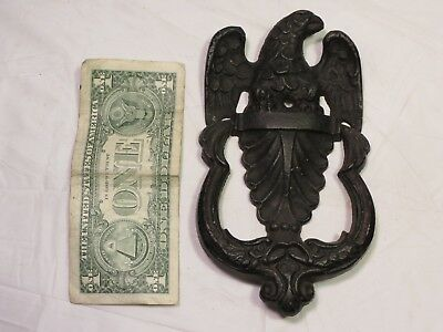 Vintage Unused Large Cast Iron Black Eagle Door Knocker Stamped 715