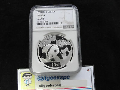 China Ms68 2008 Silver Panda Coin Ngc 1 Oz. Silver 10 Yuan Chinese Panda Slabbed