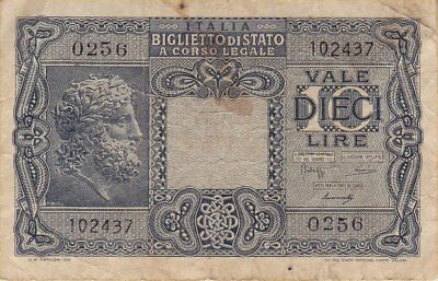 1944 Italy 10 Lire Banknote