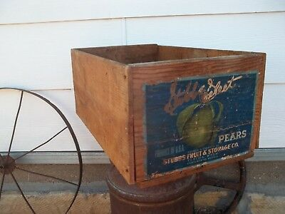 Stubbs Select Pears Wood Wooden Fruit Crate Box Paper Label Home Decor Rustic