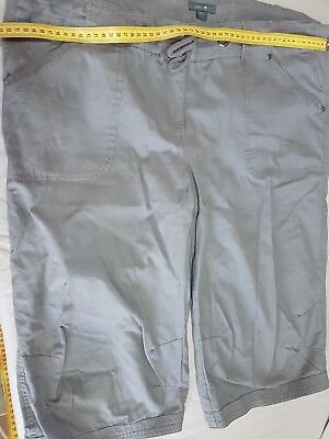 Grey Maternity Patch Cargo Shorts Knee Length Size Large Fits Size 16-20