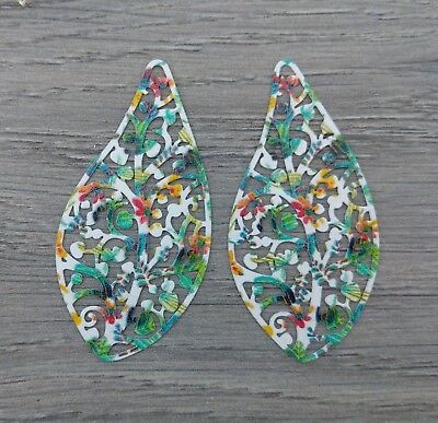 2pc Leaf Pendants - Painted Iron Nature Themed Charms - DIY Earrings   CH447-4