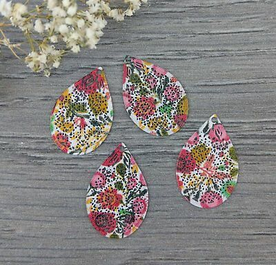 Leaf Shaped Floral Patterned Charms 4pcs - Scrapbooking DIY Earrings  CH447-7