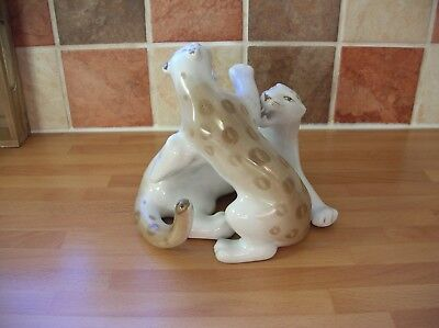 Large Ussr / Russian Verbilki Porcelain Fighting Snow Leopards